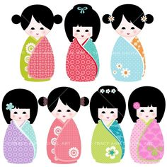 CLIP ART  Kawaii Kokeshi Dolls for commercial and personal