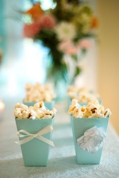 Love the simple box but can add so much to a Tiffany theme sleepover with popcorn!