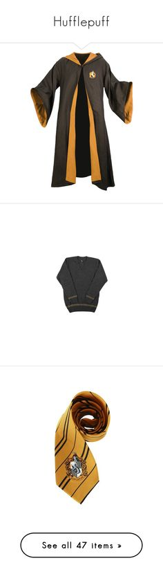 """""""Hufflepuff"""" by anastasia-101 ❤ liked on Polyvore featuring harry potter, hogwarts, hufflepuff, jackets, outerwear, tops, sweaters, adult, striped v neck sweater and sweater pullover"""