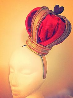 Ladies Queen of Hearts crown headpiece by Burrellios on Etsy