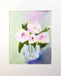 This is an 8 x 10 floral on paper, matted and mounted to fit an 11 x 14 frame. It is done in a thick, impasto style for lots of texture.
