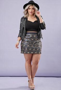 Plus Size Sequin Star-Pattern Skirt