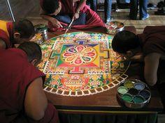 The Sand Mandala is a Tibetan Buddhist tradition involving the creation and… Tibetan Mandala, Tibetan Art, Buddhist Texts, Buddhist Monk, Sanskrit, Tibetan Symbols, Art Bin, Buddhist Traditions, Spiritual Images