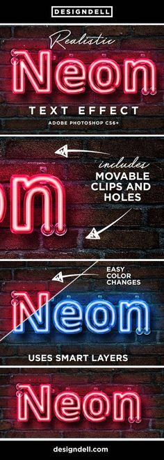 Neon Photoshop Text Effect Make your own realistic neon Photoshop text effect using smart layers. Compatible with Adobe Photoshop up to CC versions Uses smart layers for easy editing. Advanced Photoshop, Cool Photoshop, Photoshop Design, Photoshop Actions, Photoshop Projects, Lightroom, Web Design, Graphic Design Tutorials, Design Blogs