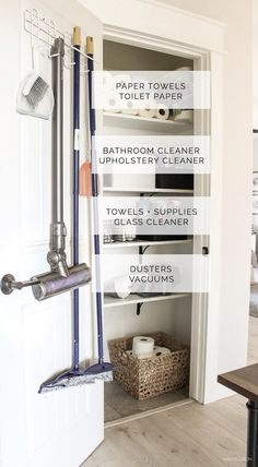 cleaning closet organization DIY Cleaning Closet O - Hall Closet Organization, Diy Organization, Organizing Tips, Sweet Home, Malbaie, Cleaning Cabinets, Tv Cabinets, Hallway Closet, Utility Closet