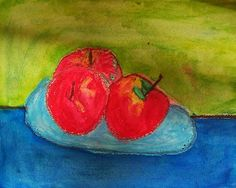 Create Art With Me! open and closed composition paul cezanne apple still life using oil pastels and BABY OIL with watercolor washes in the background