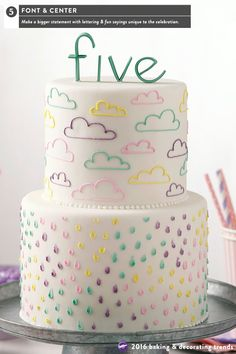Messaging becomes even bigger in 2016 with stylized lettering, bold font styles and fun sayings.  This cake shouts the message that the birthday boy or girl is now five years old.  The letters for the top of the cake are easy to make using Decorator Preferred white fondant tinted to a favorite color.  The sides of the cake feature decorations colorfully piped icing.