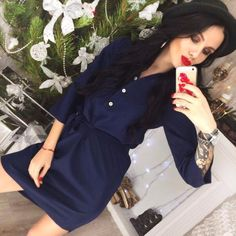 16c204c47e8e Women Spring 3 4 Sleeve Office Burgundy Navy blue Shirt dress New Summer  Casual Party Loose belt dresses Vestidos Plus Size