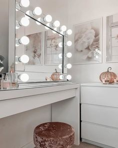 Perfect for placing on both sides of a mirror to get a good glare-free light. Bedroom Decor Grey Pink, Bedroom Decor For Teen Girls, Room Ideas Bedroom, Girl Bedrooms, Dressing Room Decor, Dressing Room Design, Pinterest Room Decor, Cute Room Decor, Stylish Bedroom