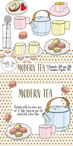 Tea Clipart - Tea Party Clipart - Modern - Hand Drawn - Pastel. This is a set of clipart featuring aa modern tea set. This digital clipart set is hand drawn and digitally colored. The look is fresh, modern and girly.  [-----WHAT YOU GET-----]  9 elements, 300 ppi PNG format