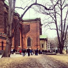 At Klara Kyrkogård food is handed out to the homeless people of Stockholm on a regular basis.