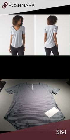 Lululemon Love Tee III Modern Stripe Gray White 8 Lululemon Athletica Love Tee III in Modern Stripe Heathered Gray White New with Tags sz. 8  why we made this This tee was designed for working out, going out, and everywhere in between. Oh yeah, it's your new go-to.   fabric + features made from a blend of Pima Cotton for the ultimate in softness and stretch curved hem makes tuck-ins a breeze imported  fit + function designed for: to-and-from fabric(s): Pima Cotton fit: loose coverage: long…