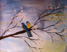 Painting of two birds sitting on a tree in winter.