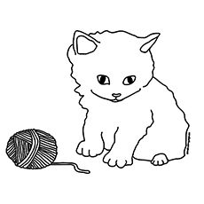 free printable drawing of a kitten playing with a ball of yarn printables pinterest free printable and yarns - Free Coloring Pages Of Kittens