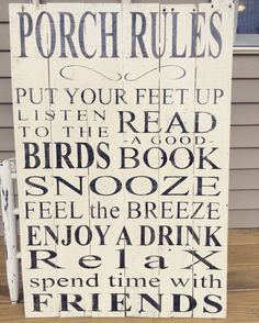Extra large reclaimed wood sign - Porch Rules - approx. 24 x 36  This oversized wood sign would make a statement on any front porch & will fit easily into any décor style! It would also be a perfect gift for a new home owner!  This rustic country porch sign is built from reclaimed wood. It has been hand painted in creamy white, lettered in black then gently distressed and given a smooth finish. A wire hanger will be attached to the back for hanging ease.  It is shown creamy white, but can be…