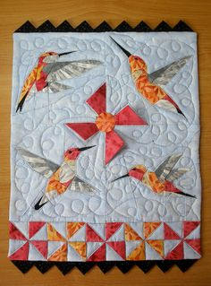 "Mini QT ""Take Flight"" Received by marilynkb, via Flickr I want this paper piecing pattern"