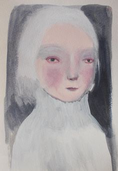 White haired Lady  original acrylic sketch by maidolls on Etsy, £20.00