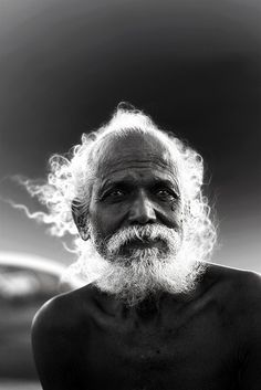 ♂ Black and white man portrait face of a silver hair old man