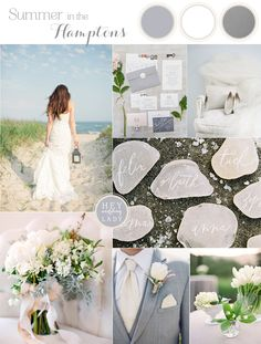 Summer in the Hamptons - Beach Chic Wedding Inspiration in White, Silver and Gray | See More! http://heyweddinglady.com/beach-chic-white-silver-gray-hamptons-wedding-inspiration/