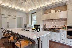 Another view of a kitchen designed by our design staff at Hermitage Lighting Gallery. Kitchen Design Gallery, Kitchen Redo, Entertainment Center, Service Design, Home Office, Dining Room, Kitchen Appliances, Projects, Traditional Kitchens