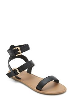 Forever 21 Girls - A pair of faux leather sandals with two buckled ankle straps.