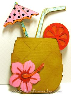 """Cricut """"Life is a Beach"""" - pineapple drink cocktail with umbrella, straw, fruit wedge, hibiscus flower Cool Cards, Diy Cards, Menu Card Design, Invitation Cards, Invites, Birthday Invitations, Umbrella Cards, Pineapple Drinks, Karten Diy"""