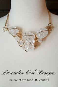 """Clear Crackle Quartz :Crystal Cocoons"""" Chaos Wire Necklace- OOAK- Natural…"""