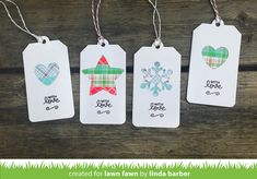 Linda designed some super cute and super quick gift tags for last-minute crafting! I always need an idea for a super fast to craft gift tag and these beautifully clever tags are just perfect! Christmas Gift Tags, Christmas Paper, Christmas Wishes, Plaid Christmas, Christmas 2016, Mama Elephant Cards, Tiny Tags, Lawn Fawn Blog, Card Tags