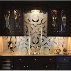 amazing mirror back splash. So easy to do with stencils and mirror!