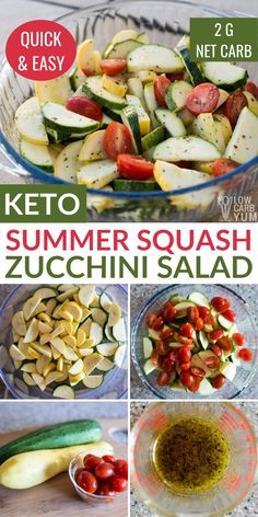 A quick and easy raw summer squash salad is a great way to serve garden vegetables. This low-carb keto salad has just 2 grams net carbs per serving. Beef Recipes, Salad Recipes, Vegetarian Recipes, Cooking Recipes, Healthy Recipes, Raw Recipes, Low Carb Recipes, Snack Recipes, Dinner Recipes