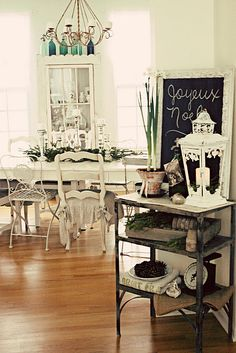 <3 love the all white mix and match chairs at the dining table <3