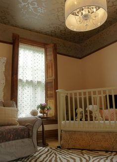 wallpapered ceiling