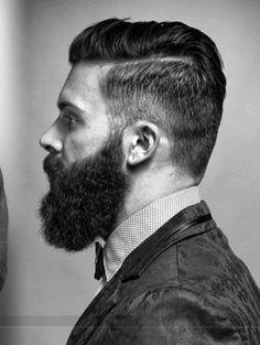 beard, short sides, long on top.