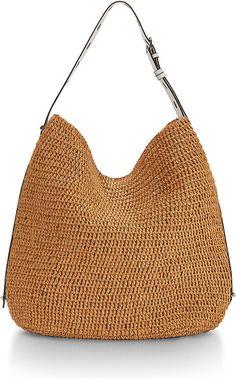 Rebecca Minkoff Sardinia Straw Leather-Trim Hobo Bag, Natural/White