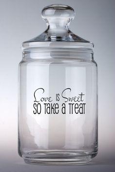 Glass Cookie Jars, Glass Candy Jars, Vinyl Crafts, Vinyl Projects, Jar Crafts, Kitchen Vinyl, Kitchen Decor, Dog Treat Jar, Sweet Jars