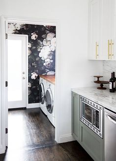 Beautiful contrast from kitchen to laundry room in Sarah Sherman Samuel's home.
