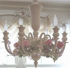 Romantique Inspirations: Chandelier with a little more added to it-
