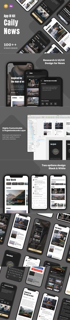 screens and more than components with 2 options color Black and White App Design Inspiration, Adobe Xd, Mobile App Design, News Magazines, Words To Describe, Ui Kit, App Ui, Screens, How To Become