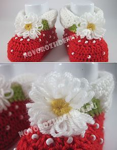 Strawberries booties, crochet - Master Class with photo + diagram Crochet Baby Shoes, Booties Crochet, Crochet Hats, Newborn Care, Baby Girl Shoes, Baby Patterns, Master Class, Baby Care, Baby Wearing