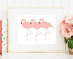 Three Flamingos – Fun office, home decor, nursery, or girl's bedroom wall print. $15 http://bymaria.com/products/three-flamingos