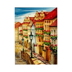 Romantic alleyway at spring in Lesser Town Prague, cityscape, architecture original painting