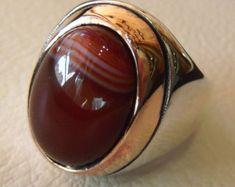 agata a strisce Corniola aqeeq enorme anello due tono argento 925 e bronzo di tutte le taglie, spedizione veloce stile arabo gioielli خاتم عقيق