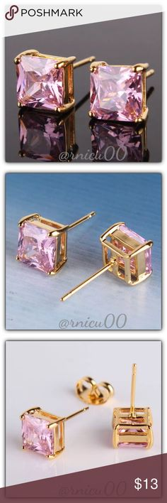 """Pink Sapphire 24K Gold Square Stud Earrings! These Princess Cut Earrings are Definitely a Favorite! Perfect Size 7mm (0.3"""") Square Stones; Very Versatile, wear daily or Simple Classy! (gssp5-2717-0249)  Part of """"Customer Favorite"""" 1X Re-Stock Sale Event! 100% of my Profit is being donated to Multiple Sclerosis (MS) Association - Please see last pic for Manufacturers description - Will ship Securely in Jewelry Box  *ALL items Marked at Absolute LOWEST Price unless Bundled! *NO TRADES *Sales…"""