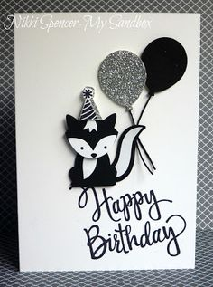 handmade birthday card from My Sandbox ... black and white .. die cut Foxy Friends skunk and balloons ... luv the layout ... Stampin' Up!