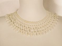 "Lovely Pearl Collar Necklace Vintage Piece 15"" Long Fashion Jewelry 