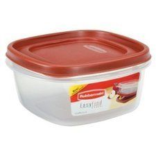 "Rubbermaid INC 7J66-00-CHILI 5-cup Easy-find Lid Square Food Storage Container by RUBBERMAID INC. $3.99. One lid fits multiple bases.. ""RUBBERMAID INC"" FOOD STORAGE CONTAINER. Lids snap together and to container bases so you can always find the right lid.. 5 cup.. Graduated sized containers nest for compact storage.. 5 Cup, Easy-Find Lid, Square, Food Storage Container, Easy-Find Lids Snap To Bottom Of Base & To Each Other, Lid Made To Fit Several Size Bases, Bases & Lids Nest ..."