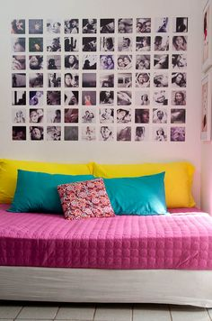Painel de fotos - this would be neat with a blown up version of 1 picture and each square was a piece of that 1 pic. Diy Room Decor, Bedroom Decor, Home Decor, Photowall Ideas, Appartement Design, Diy Wand, Decoration Inspiration, Home And Deco, New Room