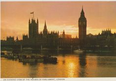 An Evening View of The Houses of Parliament, London. Postcard Post Card on eBid United Kingdom