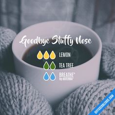 Goodbye Stuffy Nose - #doTERRA #EssentialOil #DiffuserBlend; alternatively, drop the essential oils into a steaming cup of water, hold it under the nose and inhale deeply; www.playthegracenotes.com