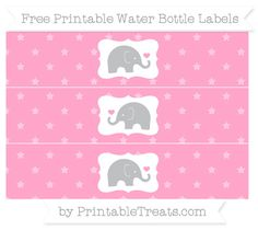 Carnation Pink Star Pattern Baby Elephant Water Bottle Wrappers